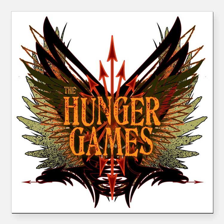 """hunger games with wings  Square Car Magnet 3"""" x 3"""""""