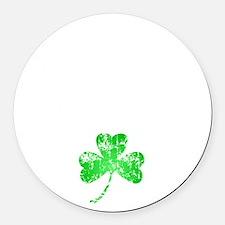 Lucky Shamrock -blk Round Car Magnet