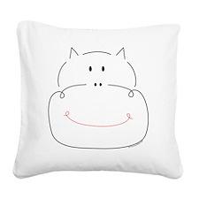 hippoface Square Canvas Pillow