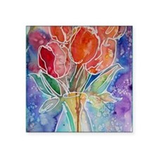 """Tulips! Colorful, floral ar Square Sticker 3"""" x 3"""""""