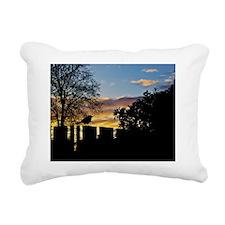 Sunset with Bird on a Fe Rectangular Canvas Pillow