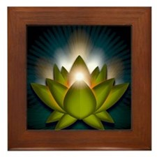 Chakra Lotus - Heart Green - Banner Framed Tile