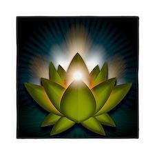 Chakra Lotus - Heart Green - square Queen Duvet