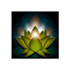 "Chakra Lotus - Heart Green  Square Sticker 3"" x 3"""