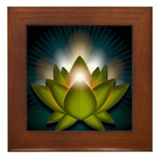 Chakra Lotus - Heart Green - Greeting  Framed Tile