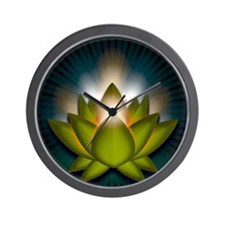 Chakra Lotus - Heart Green - Stadium Bl Wall Clock