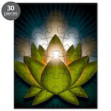 Chakra Lotus - Heart Green - Stadium Blanke Puzzle