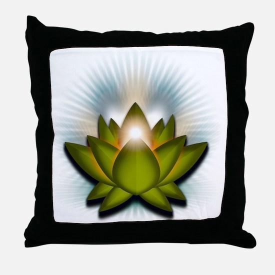 Chakra Lotus - Heart Green Throw Pillow