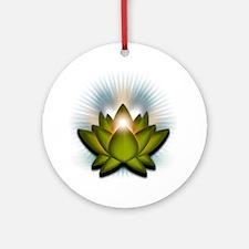 Chakra Lotus - Heart Green Round Ornament