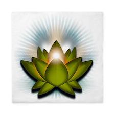 Chakra Lotus - Heart Green Queen Duvet