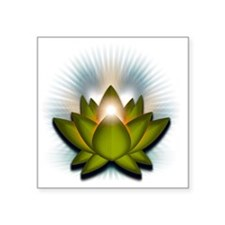 "Chakra Lotus - Heart Green Square Sticker 3"" x 3"""