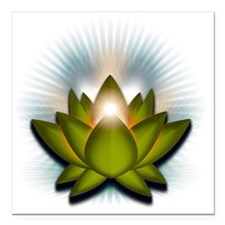 "Chakra Lotus - Heart Gre Square Car Magnet 3"" x 3"""