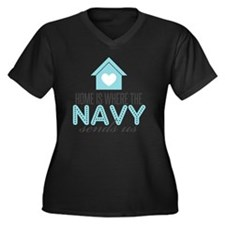 navyhome Women's Plus Size Dark V-Neck T-Shirt