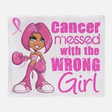 - Animated Boxer Girl Breast Cancer Throw Blanket
