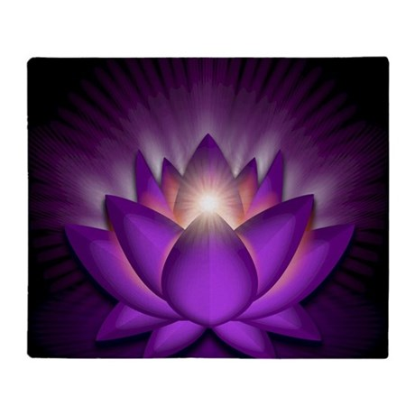 Chakra Lotus - Crown Violet - greeti Throw Blanket