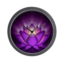 Chakra Lotus - Crown Violet - greeting  Wall Clock