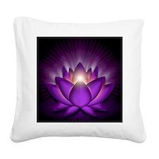 Chakra Lotus - Crown Violet - Square Canvas Pillow