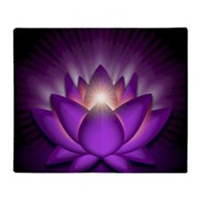 Chakra Lotus - Crown Violet - square Throw Blanket