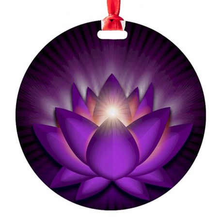 Chakra Lotus - Crown Violet - stadi Round Ornament