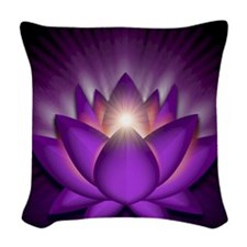 Chakra Lotus - Crown Violet -  Woven Throw Pillow