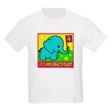 4th Birthday Elephant Kids T-Shirt