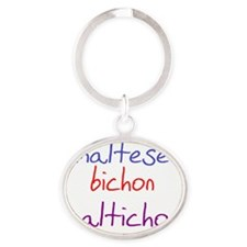 maltichon_black Oval Keychain