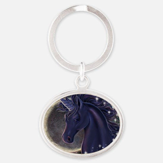 Stellar_Unicorn_16x16 Oval Keychain