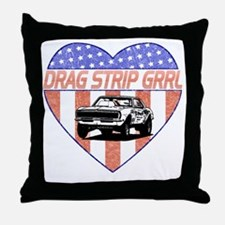 DragStripGrrl Throw Pillow