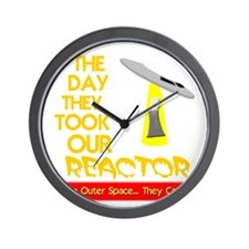 funny ufo and nuclear reactor Wall Clock