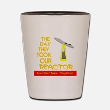 funny ufo and nuclear reactor Shot Glass