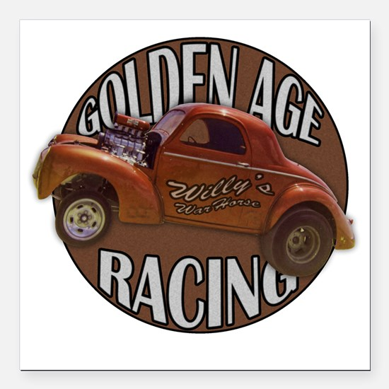 "golden age willies brown Square Car Magnet 3"" x 3"""