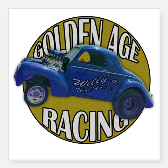 "golden age willies navy  Square Car Magnet 3"" x 3"""