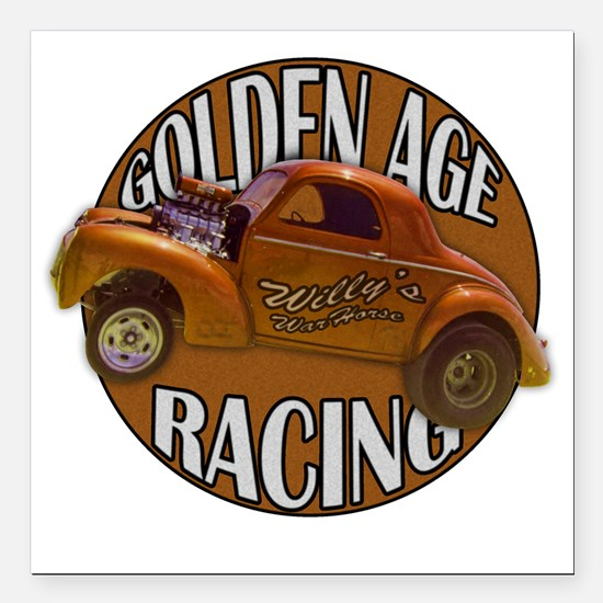 "golden age willies coppe Square Car Magnet 3"" x 3"""
