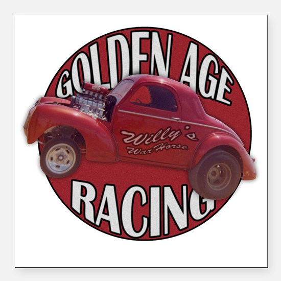 "Golden age willies red Square Car Magnet 3"" x 3"""