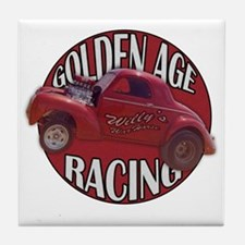 Golden age willies red Tile Coaster