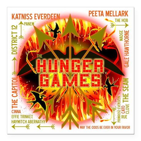 "hunger games katniss pee Square Car Magnet 3"" x 3"""