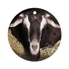 smiling-goat Round Ornament