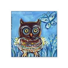 "Baby owl butterfly Square Sticker 3"" x 3"""