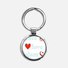 PeaceLoveIslam Round Keychain