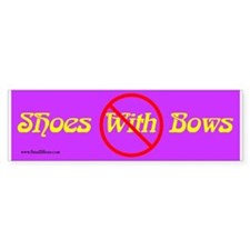 No Shoes With Bows - Bumper Sticker (purple)