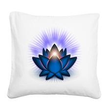 Chakra Lotus - Throat Blue Square Canvas Pillow