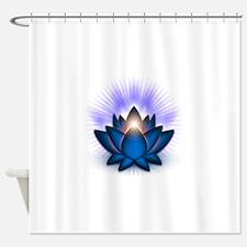 Chakra Lotus - Throat Blue Shower Curtain