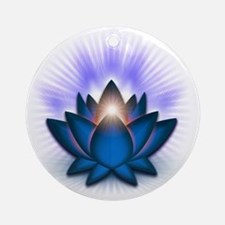Chakra Lotus - Throat Blue Round Ornament