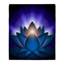 Chakra Lotus - Throat Blue - square Throw Blanket