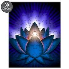 Chakra Lotus - Throat Blue - square Puzzle