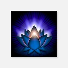"Chakra Lotus - Throat Blue  Square Sticker 3"" x 3"""