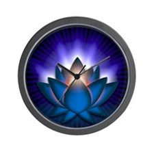 Chakra Lotus - Throat Blue - banner Wall Clock