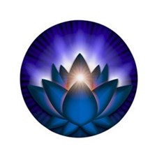 "Chakra Lotus - Throat Blue - banner 3.5"" Button"