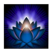 Chakra Lotus - Throat Blue - banner Tile Coaster