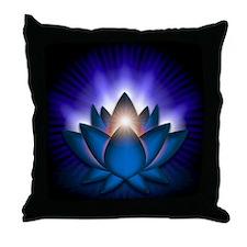 Chakra Lotus - Throat Blue - banner Throw Pillow